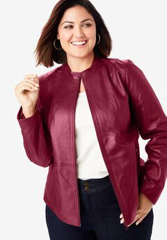 Leather Moto Jacket, RICH BURGUNDY