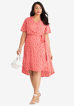 2-Piece Dress, SUNSET CORAL DOT