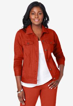 Classic Cotton Denim Jacket, COPPER RED