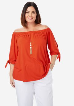 Tie Sleeve Tee, FLAME RED