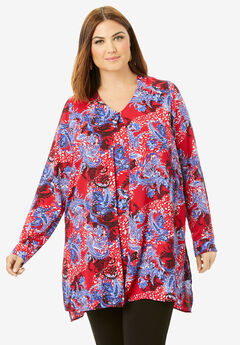 Flyaway V-Neck Tunic, VIVID RED PAISLEY