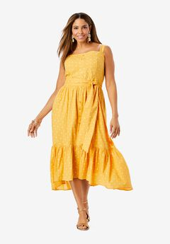 Button Up Tie Front Sundress,
