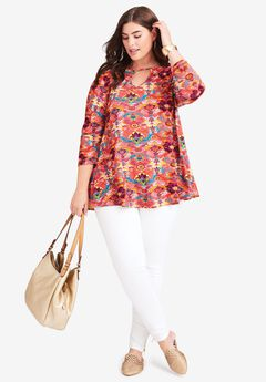 Keyhole Swing Tunic, CORAL ABSTRACT