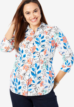 Poplin Shirt, WHITE PAINTERLY FLORAL