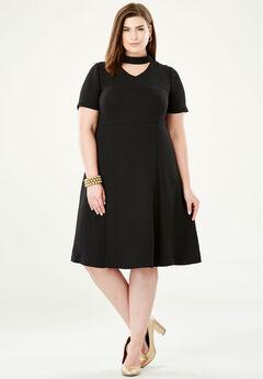 V-Inset Fit & Flare Dress, BLACK