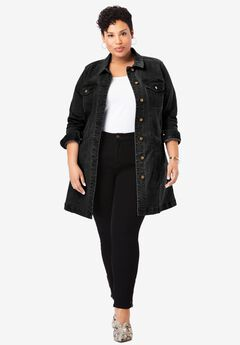 Long Denim Jacket, BLACK