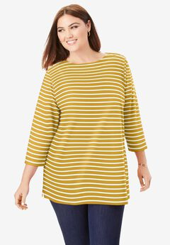 Boatneck Tunic, GOLD IVORY STRIPE