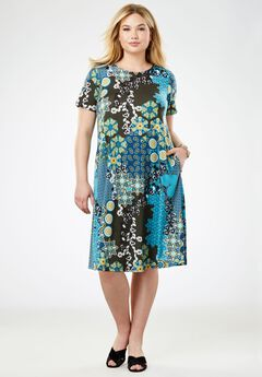 A-line Dress, AQUA MIXED PATTERN