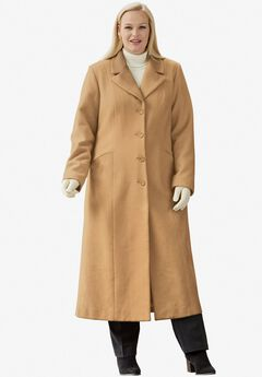 Long Wool-Blend Coat with Notch Collar,