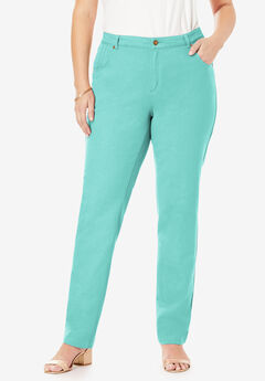 Classic Cotton Denim Straight Jeans, ISLAND AQUA