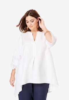 Hi-Low Linen Tunic, WHITE