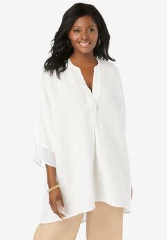 Hi-Low Linen Tunic, WHITE