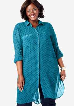 Mega Tunic, DEEP TEAL DOT