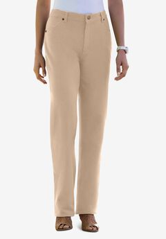 Classic Cotton Denim Straight Jeans, NEW KHAKI