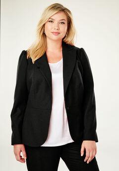 Wool-Blend Peplum Blazer, BLACK