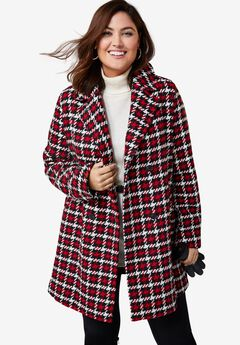 A-Line Peacoat, CLASSIC RED GRAPHIC HOUNDSTOOTH