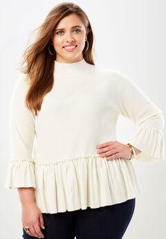 Peplum Pullover Sweater, IVORY