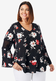Pleated Bell Sleeve Tunic, BLACK ABSTRACT FLORAL