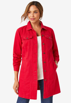 Long Denim Jacket, CLASSIC RED