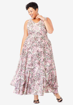 Flyaway Maxi Dress, IVORY FLOWER PAISLEY
