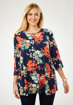 Trapeze Tunic, NAVY SHADOW FLORAL