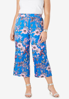 Travel Stretch Knit Cropped Pants, FUCHSIA JACOBEAN FLORAL