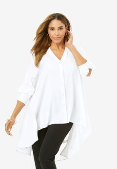 Hi-Low Georgette Tunic, WHITE