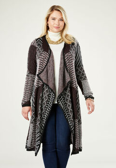 Jacquard Sweater Duster, MULTI PATCHWORK JACQUARD