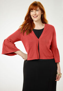 Bell Sleeve Sweater Shrug, BURNT RED