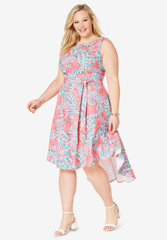 Tie-Waist Fit-And-Flare Dress, VIVID FIESTA PAISLEY