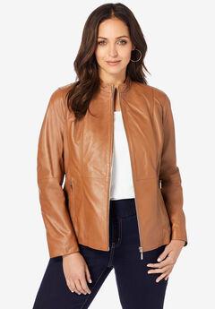 Zip Front Leather Jacket, COGNAC