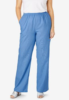 Lightweight Linen-Blend Wide-Leg Pants, HORIZON BLUE