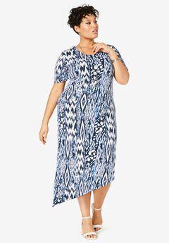 Asymmetrical Hem Dress, NAVY ABSTRACT ANIMAL