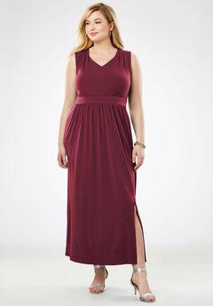 Travel Knit V-Neck Maxi Dress, BURGUNDY