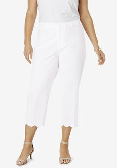Stretch Poplin Crop Pant, WHITE SCALLOP HEM