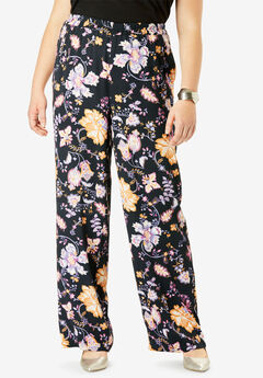 Wide Leg Pants, BLACK FLORAL