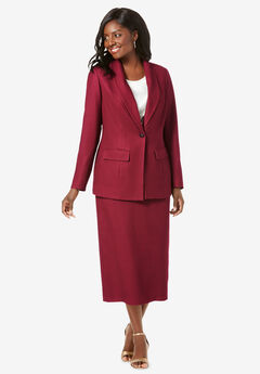 Single-Breasted Skirt Suit, RICH BURGUNDY