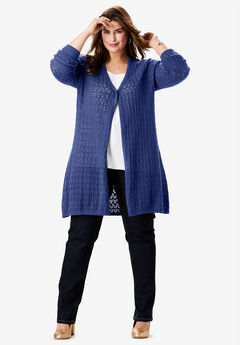 Pointelle Cardigan, ULTRA BLUE