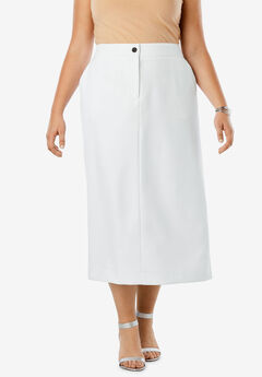 Tummy Control Bi-Stretch Midi Skirt, WHITE