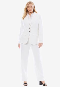Single Breasted Pant Suit, WHITE
