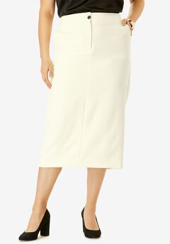 Tummy Control Bi-Stretch Midi Skirt, IVORY