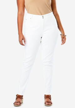 JL Sculpt Denim Skinny Ankle Jean, WHITE