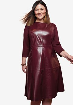 Leather Fit & Flare Dress with Three-Quarter Ponte Sleeves, DEEP MERLOT