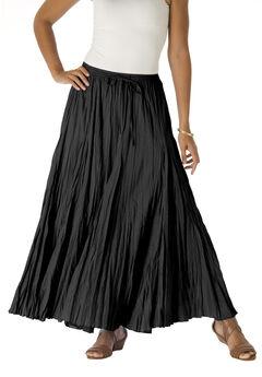 Cotton Crinkled Maxi Skirt, BLACK