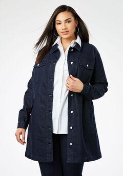 Long Denim Jacket, INDIGO WASH