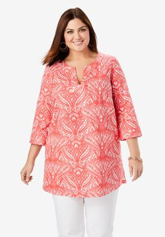 Linen V-Neck Tunic, GERANIUM MIRRORED PAISLEY