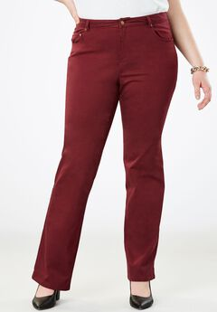 True Fit Bootcut Jeans , DEEP MERLOT