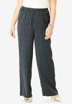 Wide Leg Pants, BLACK DOUBLE PINSTRIPE