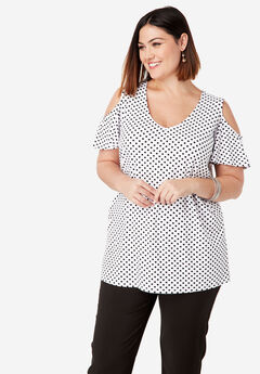 Cold Shoulder Flutter Tunic,