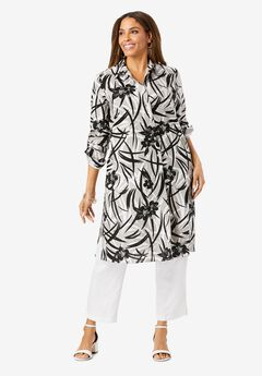 Linen Duster, OYSTER HIBISCUS PRINT